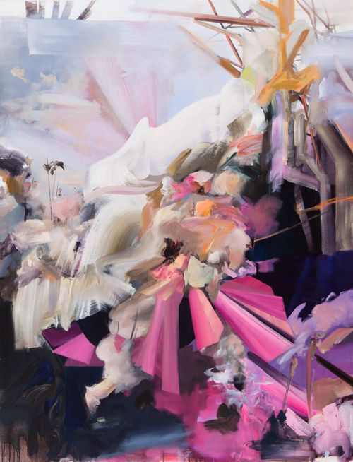 "Kristine Moran- Woman crossing river, 2012, oil on canvas, 78"" x 60"