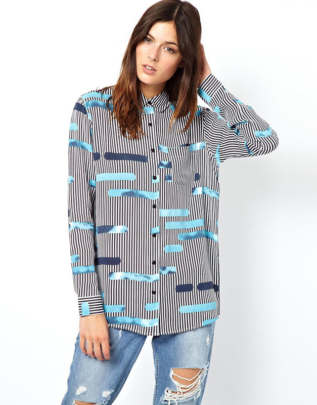 ASOS Blouse in Layered Cutabout Stripe Print
