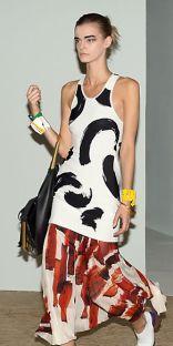 Celine Black and White Brush Stroke Jacquard Tank and Brush Stroke Print Pleated Silk Jersey Skirt