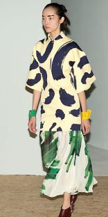 Celine Brush Stroke Print on Wool Satin Top and Brush Stroke Print Pleated Silk Jersey Skirt