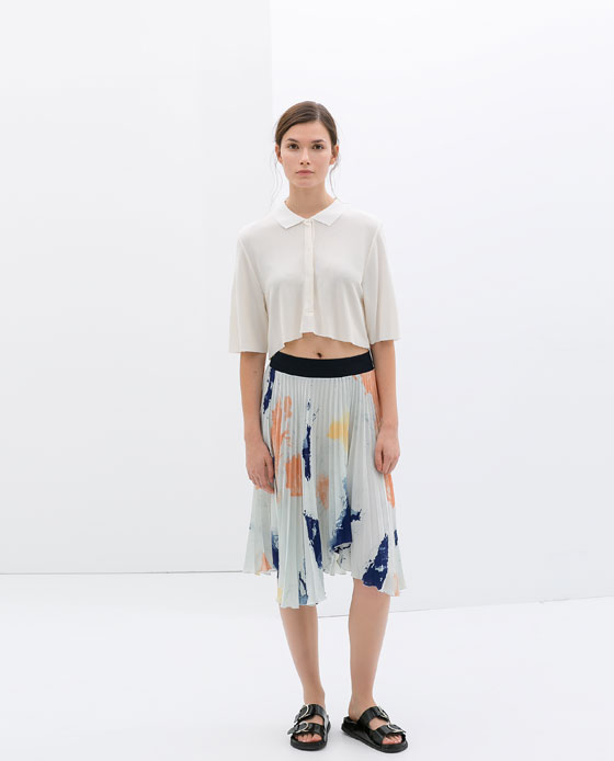 Zara - Pleated Print Skirt