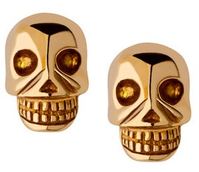 Links London yellow gold vermeil Mini Skull Stud Earrings via youmademelikeyou.com