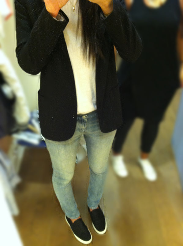 Jeans and Blazer for a run out the door via youmademelikeyou.com
