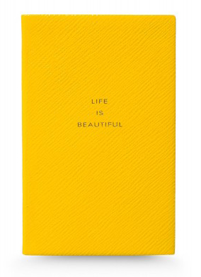 Smythson printed leather notebook