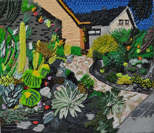 Caroline Larsen Cactus House 2014 oil on Canvas 27 x 31 inches