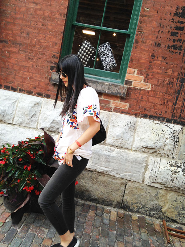 dress with pants outfit at the Distillery District Toronto via youmademelikeyou.com