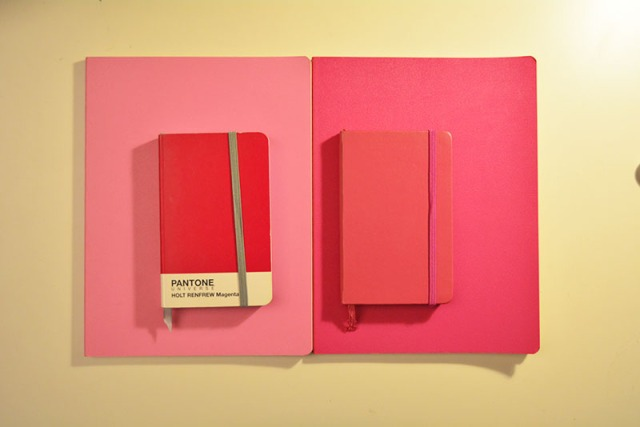 Pantone Universe Holt Renfrew Magenta notebook and pink moleskine notebooks