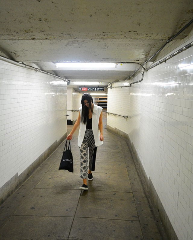 Out in Public - Pajama pants, sleeveless vest, sneakers via youmademelikeyou.com