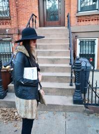 Helmut Lang Moto Jacket and sweatpants in Brooklyn, via youmademelikeyou.com