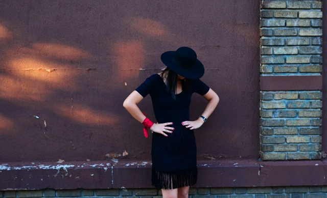 Fringe skirt, felt hat and bandana OOTD via youmademelikeyou.com