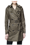 Burberry Brit Double-Breasted Trench Coat, Military Olive